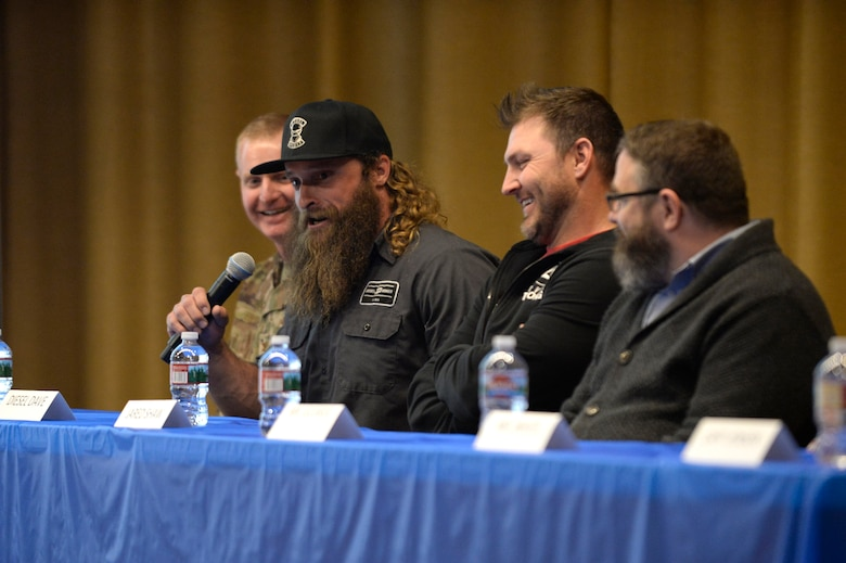Television personality Diesel Dave Kiley of the Discovery Channel's Diesel Brothers during a panel interview at the premiere of The Big Picture April 18, 2019, at Hill Air Force Base, Utah. Kiley appears in the The Big Picture, the first of six ads being produced at Hill AFB, urging Airmen to reach out to resources such as mental health, alcohol and drug abuse treatment, sexual assault response, family advocacy, and employee assistance when it's needed. (U.S. Air Force photo by David Perry)