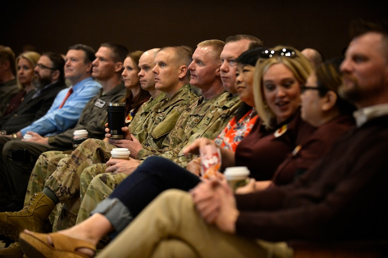 Base personnel and their families during the premiere of The Big Picture April 18, 2019, at Hill Air Force Base, Utah. The Big Picture is the first of six ads being produced at Hill AFB, urging Airmen to reach out to resources such as mental health, alcohol and drug abuse treatment, sexual assault response, family advocacy, and employee assistance when it's needed. (U.S. Air Force photo by David Perry)