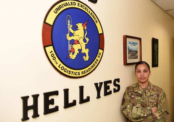 U.S. Air Force Senior Master Sgt. Arwa Cavender, 100th Logistics Readiness Squadron first sergeant, poses for a photo at RAF Mildenhall, England, April 4, 2019. Cavender, who began her career at Maxwell Air Force Base, Alabama as a medical administrator, has been a first sergeant at both Holloman Air Force Base, New Mexico and RAF Mildenhall. (U.S. Air Force photo by Airman 1st Class Brandon Esau)