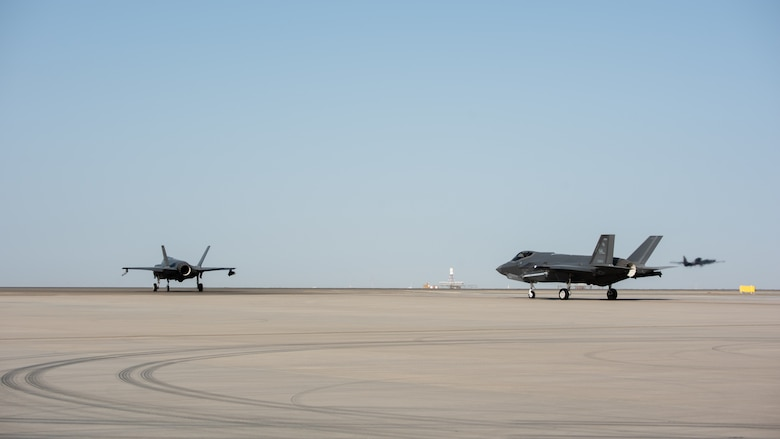 Two F-35A Lightning IIs taxi before takeoff April 26, 2019, at Al Dhafra Air Base, United Arab Emirates.