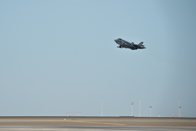 An F-35A Lightning II takes off April 26, 2019, at Al Dhafra Air Base, United Arab Emirates.