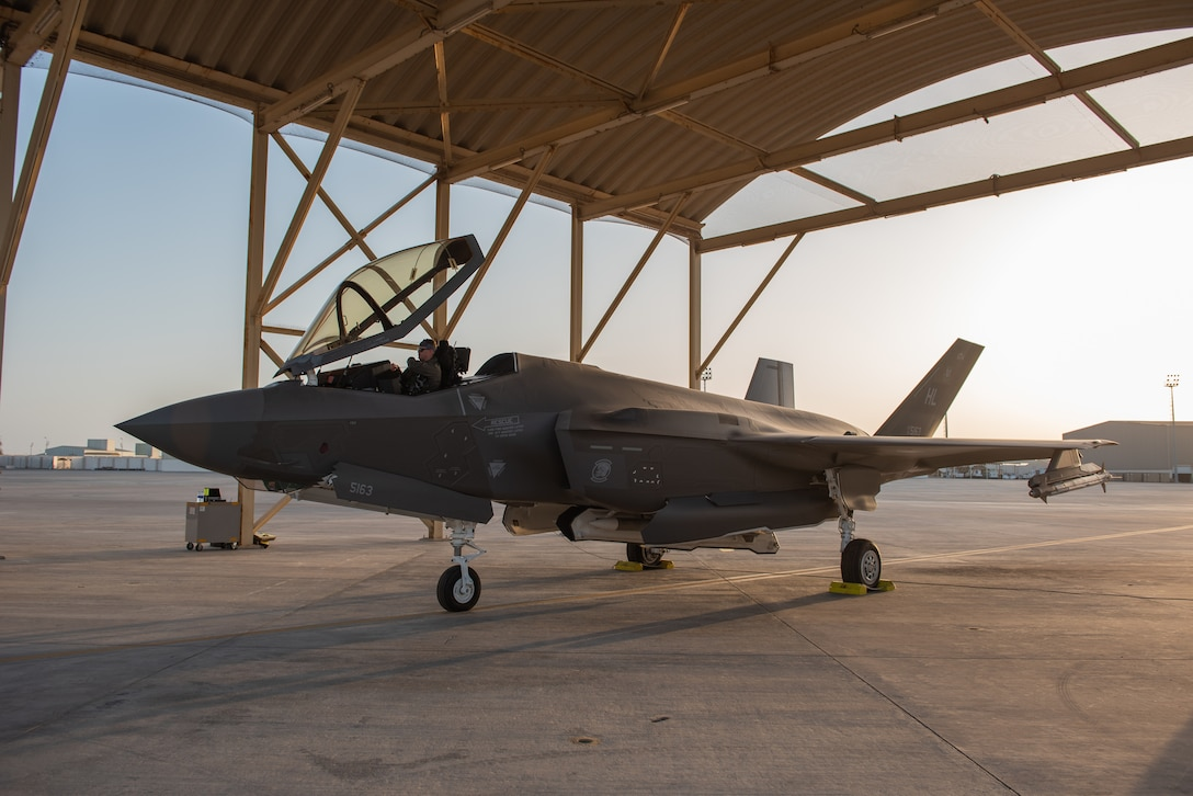 A 4th Expeditionary Fighter Squadron F-35A Lightning II pilot sits in his aircraft before a mission April 26, 2019, at Al Dhafra Air Base, United Arab Emirates.