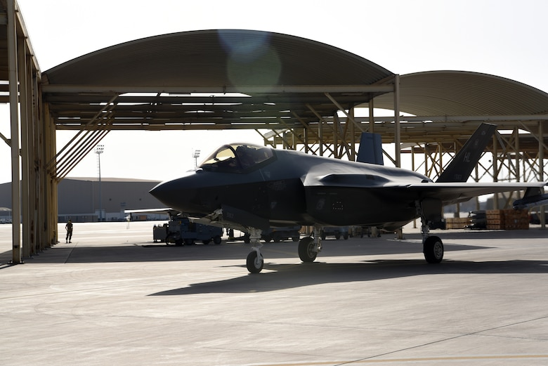 An F-35A Lightning II assigned to the 4th Expeditionary Fighter Squadron taxis prior to take-off at Al Dhafra Air Base, United Arab Emirates, April 26, 2019.