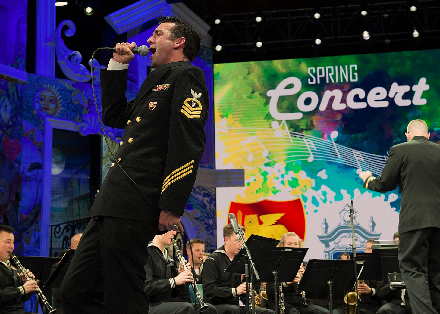 Visitors to Rai Auditorium were treated to a variety of traditional standards, pop hits, medlies, and classical music selections during a spring concert by the U.S. Naval Forces Europe Band in collaboration with the cast of singers from the Neapolitan choir 'That's Napoli Live Show' in Naples, Italy, May 3, 2019.