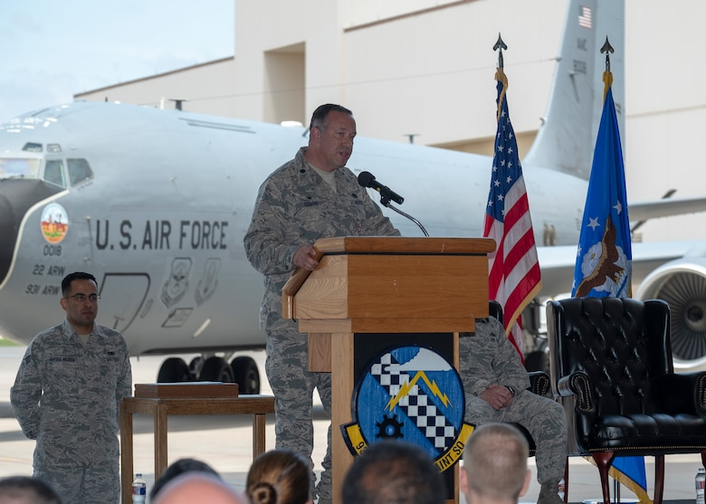 Lt. Col. Eric Eggers, outgoing 931st Aircraft Maintenance Squadron commander, addresses attendees of the 931 AMXS change of command ceremony