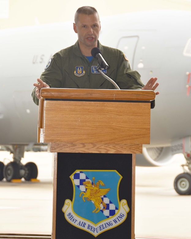 Col. Phil Heseltine, 931st Air Refueling Wing commander, speaks to an audience attending the 905th Air Refueling Squadron Reactivation and Assumption of Command Ceremony, May 4, 2019, McConnell Air Force Base, Kan.  This is one of the first squadrons in the Air Force dedicated to the KC-46A Pegasus. The 905 ARS has roots dating back to World War II.