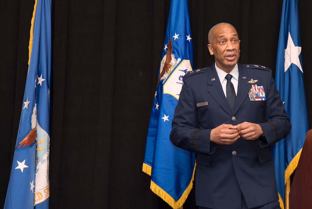 Maj. Gen. Leonard Isabelle, Jr., commander of the Michigan Air National Guard, addresses the audience while presiding over Brig. Gen. Rolf E. Mammen's promotion ceremony here on May 4, 2019.