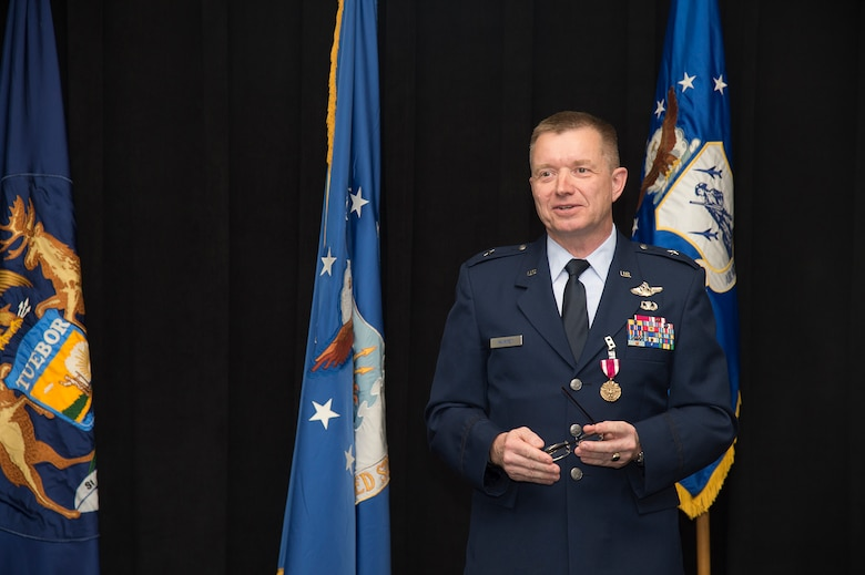 Brig. Gen. Rolf E. Mammen, commander of the 127th Wing and Selfridge Air National Guard Base, addresses the audience during his promotion ceremony here, May 4, 2019.