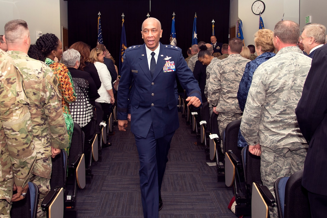 SELFRIDGE AIR NATIONAL GUARD BASE, Mich.— Maj. Gen. Leonard Isabelle, Jr., commander of the Michigan Air National Guard, exits as part of the official party after Brig. Gen. Rolf E. Mammen, commander of the 127th Wing, is promoted from colonel to brigadier general here on May 4, 2019.