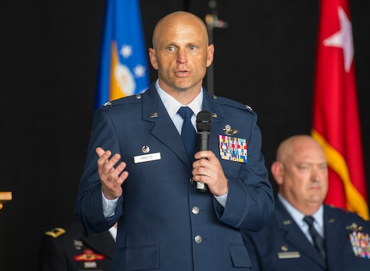 Col. Bryan Preece gives his first speech after assuming command 130th Airlift Wing during a change of command ceremony held May 4, 2019, at McLaughlin Air National Guard Base, Charleston, W.Va. Col. Bryan Preece assumed command of the unit from Col. Johnny Ryan, becoming the 10th commander in the organization's history. (U.S. Air National Guard photo by Master Sgt. De-Juan Haley)