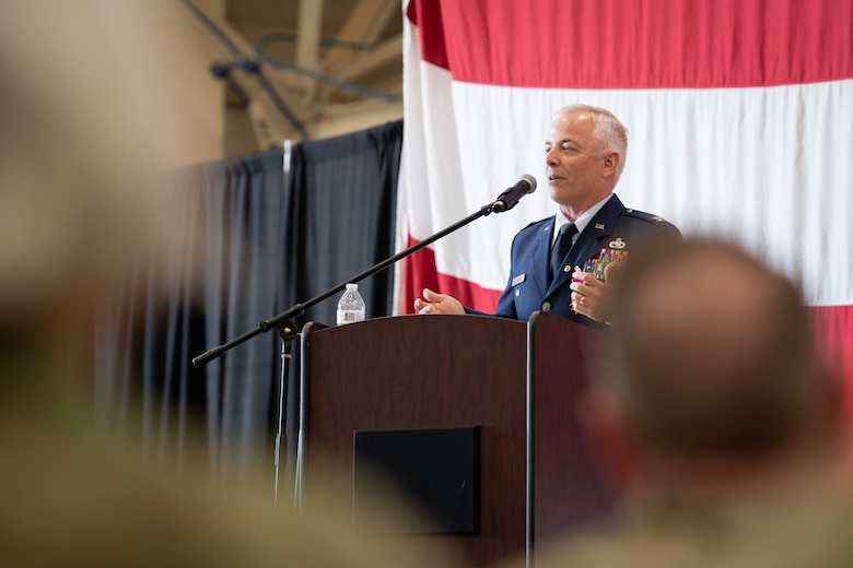Col. Douglas D. Hayworth, 137th Special Operations Wing (137th SOW) vice commander, addresses the Airmen of the 137th SOW during his retirement ceremony at Will Rogers Air National Guard Base in Oklahoma City, May 4, 2018. Hayworth retired after serving more than 30 years with the Wing. (U.S. Air National Guard Photo by Senior Airman Jordan Martin)