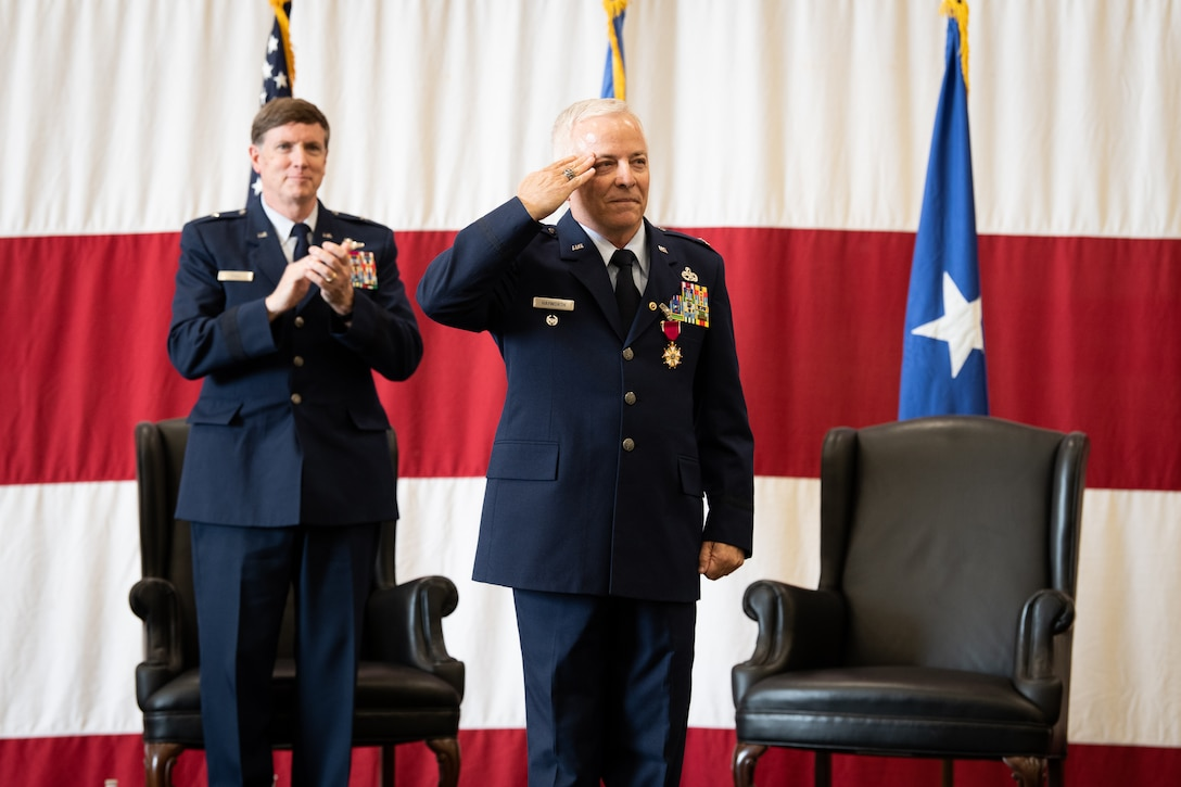 Col. Douglas D. Hayworth, 137th Special Operations Wing (137th SOW) vice commander, renders his final salute to members of the 137th SOW during his retirement ceremony at Will Rogers Air National Guard Base in Oklahoma City, May 4, 2018. Hayworth retired after serving more than 30 years with the Wing. (U.S. Air National Guard Photo by Senior Airman Jordan Martin)