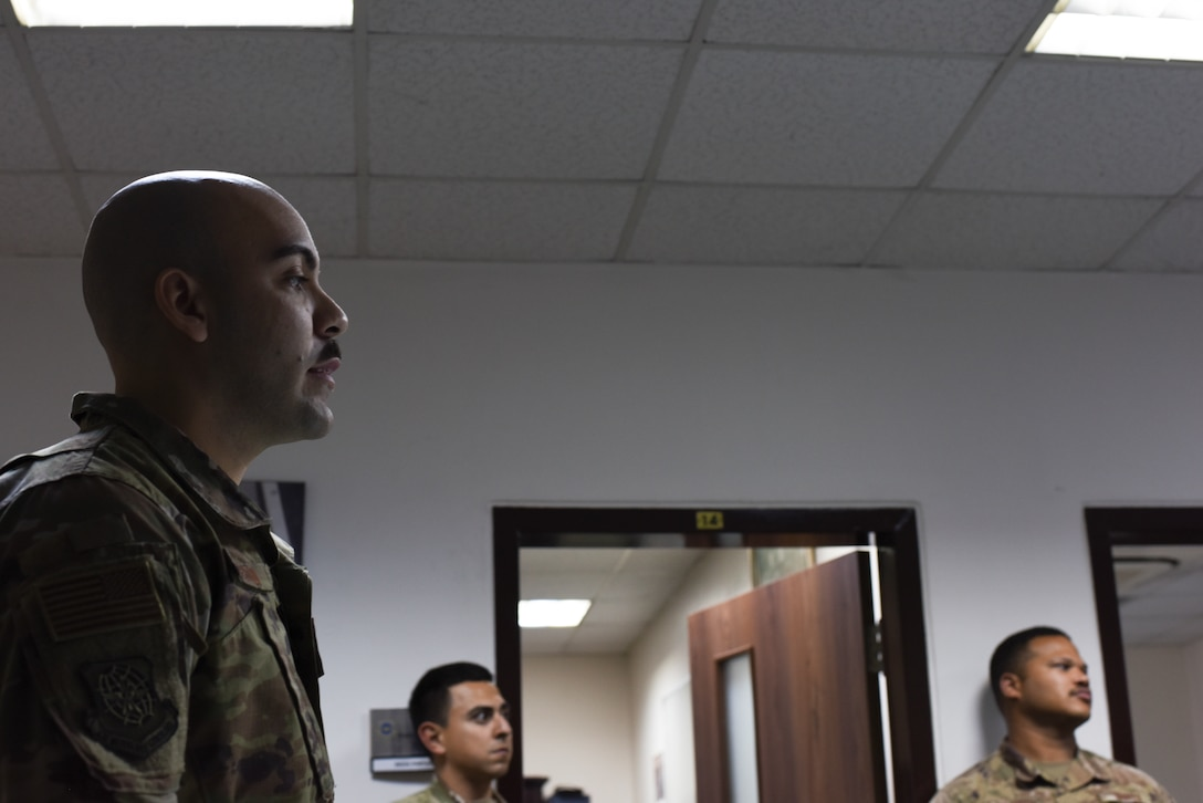 Staff Sgt. Matthew Bertini, 728th Air Mobility Squadron passenger services supervisor and Solutions Group member, briefs the unit March 6, 2019, at Incirlik Air Base, Turkey. The Solutions Group meets monthly to discuss different work-related issues they have either experienced or noticed and brainstorms ways to improve processes and procedures. (U.S. Air Force Air Force photo by Staff Sgt. Matthew J. Wisher)