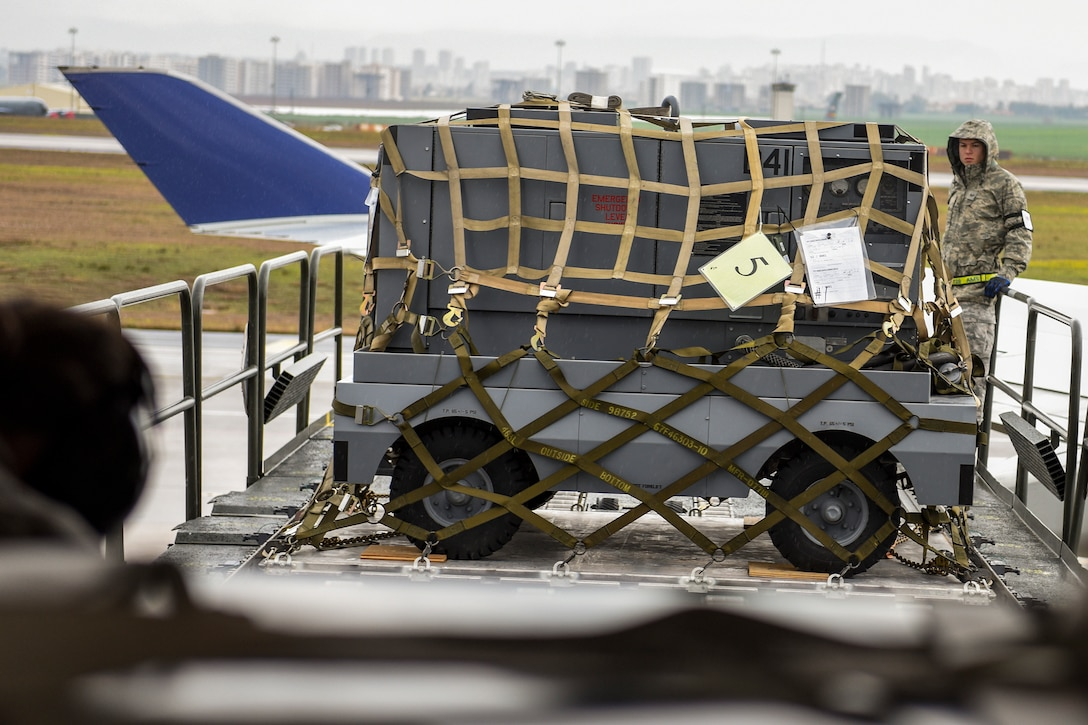 Senior Airman Dane Johnson, 728th Air Mobility Squadron aircraft services journeyman, unloads cargo from an Atlas 747 airliner March 3, 2019, at Incirlik Air Base, Turkey. The 728th AMS aircraft services flight ensures the base has the supplies it needs to maintain daily operations such as food and maintenance supplies. (U.S. Air Force photo by Staff Sgt. Ceaira Tinsley)