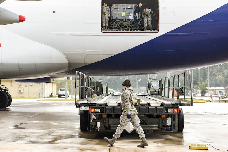 Senior Airman Dane Johnson, 728th Air Mobility Squadron aircraft services journeyman, puts a chock in place March 3, 2019, at Incirlik Air Base, Turkey. Airmen from the 728th AMS offload various types of cargo including food rations, mail and maintenance parts. (U.S. Air Force photo by Staff Sgt. Ceaira Tinsley)