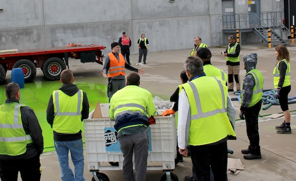 DLA Distribution Europe employees discuss HAZMAT training