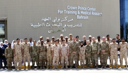 A team of U.S. Army and Bahrian Defence Force Soldiers after a medical subject matter expert exchange at the Crown Prince Center of Training and Medical Research in Bahrain, April 18, 2019.