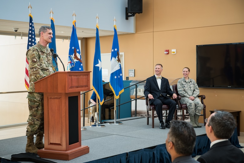 Brig. Gen. Mark Koeniger, commander of the 711th Human Performance Wing, delivers remarks at the activation of the Warfighter Medical Optimization Division, one of five divisions comprising the 711HPW's Airman Systems Directorate. The activation ceremony was held May 1 at the United States Air Force School of Aerospace Medicine. (U.S. Air Force photo/Rick Eldridge)