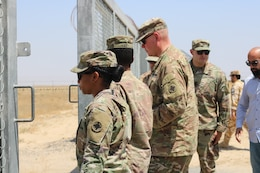 U.S. Army Soldiers and Kuwait border and customs control officials visit to the Kuwait - Iraq border following a ribbon cutting ceremony at Khabari Crossing, Kuwait, April 30, 2019.
