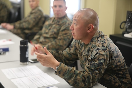 Gunnery Sergeant Ryan Lungerhausen provides balanced feedback during the new instructor teach-back interview. The feedback given allows course instructors to constantly improve the product they deliver to each student.