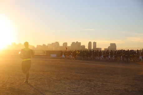 The Recruiters School Physical Training Instructor (PTI), GySgt Kulvanish, oversees the physical training program for all courses. The beautiful San Diego skyline provides the perfect backdrop for a run.