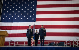Maj. Gen. Craig La Fave, 22nd Air Force commander, Chief Master Sgt. Barbara Gilmore, 932nd Airlift Wing command chief, and Col. Glenn Collins, 932nd AW commander stand at attention as the order is being published authorizing the transfer of responsibilities during the assumption of command May 5, 2019, at Scott Air Force Base, Illinois. Collins said he will work tirelessly every moment of everyday to the best of his abilities to ensure all the 932nd Citizen Airmen have the resources and training necessary to go throughout the world to perform the missions that the nation has called upon them to do. (U.S. Air Force photo by Senior Airman Melissa Estevez)