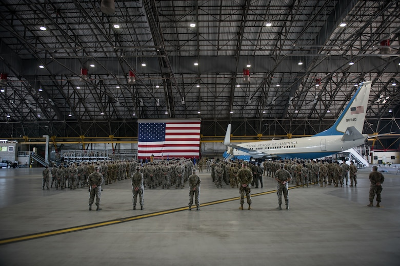 Citizen Airmen of the 932nd Airlift Wing, also known as the Gateway Wing, stand at ease during the assumption of command May 5, 2019, at Scott Air Force Base, Illinois. The 932nd AW is comprised of over 1,100 Citizen Airmen who support the national interests providing distinguished visitor airlift, ground and aeromedical patient care and expeditionary combat support. (U.S. Air Force photo by Senior Airman Brooke Deiters)