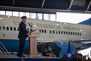 "Col. Glenn Collins, 932nd Airlift Wing commander, makes his first speech as commander during the assumption of command May 5, 2019, at Scott Air Force Base, Illinois.  ""How lucky am I to be able to serve… with the finest Airmen the world has ever produced,"" said Collins. (U.S. Air Force photo by Senior Airman Brooke Deiters)"