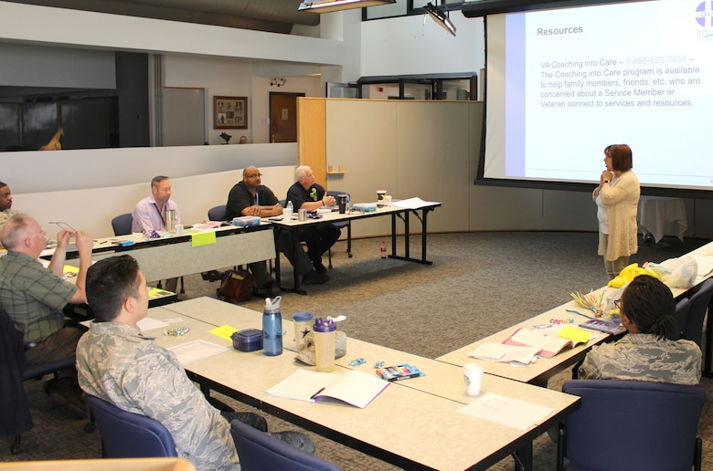 Carol Ackley, Mental Health First Aid training instructor, leads training April 22-23 at the Gossick Leadership Center on Arnold Air Force Base for interested senior leaders, first responders and security personnel at Arnold wanting to become certified mental health first aid responders. (U.S. Air Force photo by Deidre Ortiz)