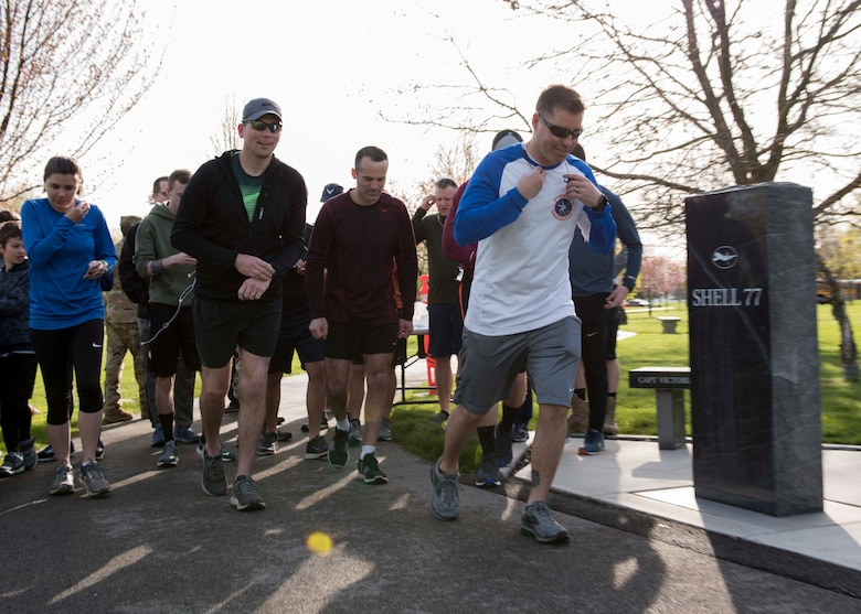 Team Fairchild Airmen and family members take-off from the starting line for the commemorative Shell 77 5K Run at Fairchild Air Force Base, Washington, May 3, 2019. Shell 77 was a tragic incident where three Airmen perished when their KC-135 Stratotanker crashed in northern Kyrgyzstan on May 3, 2013, while flying in support of Operation Enduring Freedom. (U.S. Air Force photo by Senior Airman Ryan Lackey)