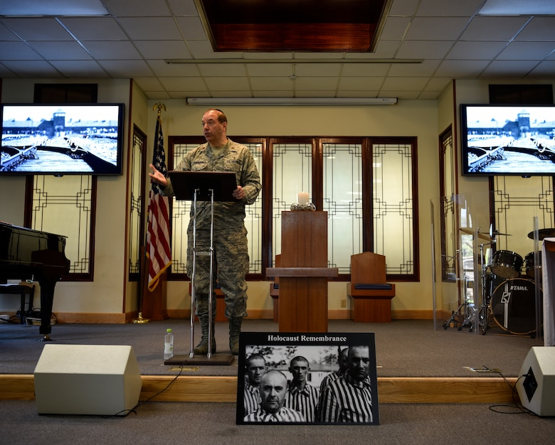 Rabbi (Maj.) Gary Davidson, U.S. Air Force chaplain, shares how he learned of the Holocaust during a remembrance ceremony on Kunsan Air Base, Republic of Korea, May 2, 2019. Davidson served as the ceremony's keynote speaker. He detailed the history of the Holocaust through the eyes of a Jew and charged participates to continue to tell the story of the atrocious genocide so it is not forgotten or repeated.  (U.S. Air Force photo by Capt. Remoshay Nelson