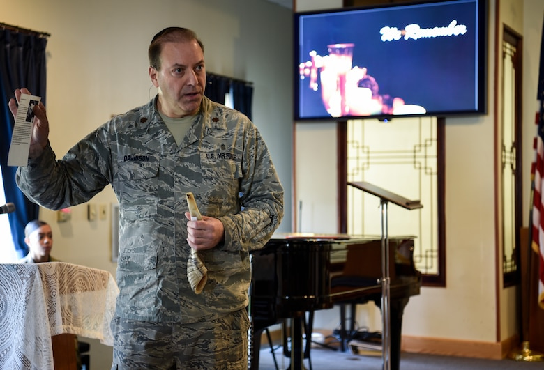 Rabbi (Maj.) Gary Davidson, U.S. Air Force chaplain, speaks during Kunsan Air Base's Holocaust Remembrance Ceremony at the Base Chapel on May 2, 2019. Davidson served as the ceremony's keynote speaker. He closed his speech by blowing a shofar, an ancient musical horn made of a ram's horn, as a sign of inspiration, humanity, and strength in the Jewish religion. (U.S. Air Force photo by Capt. Remoshay Nelson)