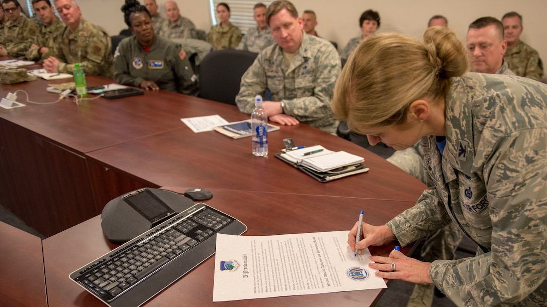 102nd Intelligence Wing Commander Virginia I. Gaglio officially declared April Sexual Assault Awareness and Prevention Month during a proclamation signing ceremony held on April 5, 2019, at Otis Air National Guard Base, Massachusetts.