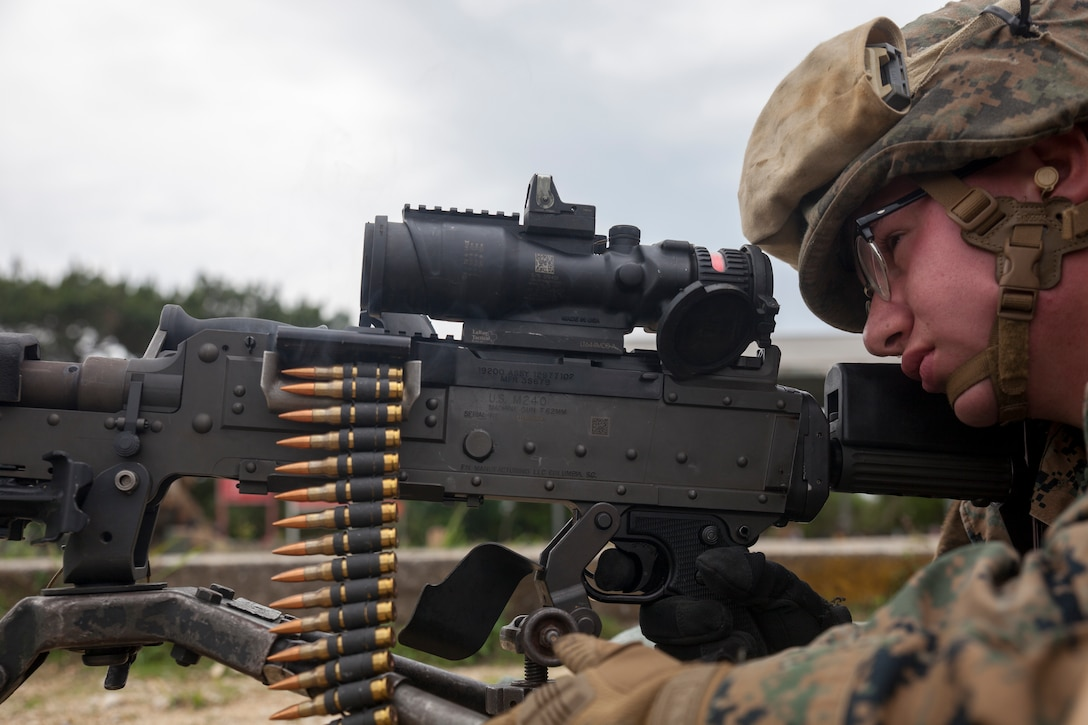 Lance Cpl. Kody L. Stallard, a landing support specialist with Combat Logistics Battalion 31, fires an M240B medium machine gun during machine gun training at Camp Hansen, Okinawa, Japan, May 3, 2019 During the training, Marines with CLB-31 fired several thousand rounds to increase and maintain proficiency with medium and heavy machine guns. Stallard, a native of Conneaut, Pennsylvania, graduated from Conneaut Area Senior High in June 2017 before enlisting in June of the same year. The 31st MEU, the Marine Corps' only continuously forward-deployed MEU, provides a flexible and lethal force ready to perform a wide range of military operations as the premier crisis response force in the Indo-Pacific region.