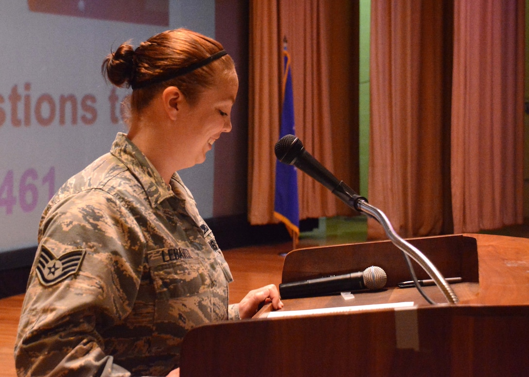 Staff Sgt. Kaycee Lebavitz, 507th Maintenance Squadron, serves as emcee for the May UTA commander's call at the base theater, May 5, 2019, Tinker Air Force Base, Oklahoma. (U.S. Air Force photo by Senior Airman Mary Begy)