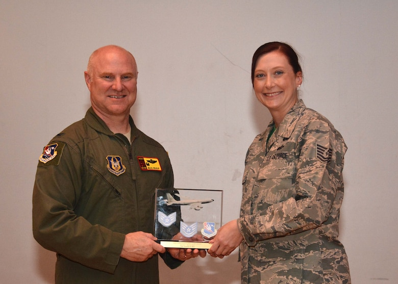 Tech. Sgt. Amanda Baty, 507th Force Support Squadron, received the Noncommissioned Officer of the Quarter award for the first quarter during the May UTA commander's call at the base theater, May 5, 2019, Tinker Air Force Base, Oklahoma. (U.S. Air Force photo by Senior Airman Mary Begy)