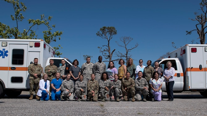 Personnel assigned to the 325th Medical Group pose for a photo in observance of National Nurses Week at Tyndall Air Force Base, Florida, May 6, 2019.