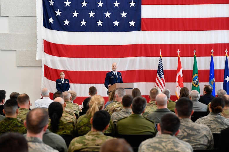 Col. Brett Bosselmann addresses the 225th Support Squadron after assuming command at the Pierce County Readiness Center, Camp Murray, Washington, April 10, 2019. (U.S. Air National Guard photo by Capt. Colette Muller)