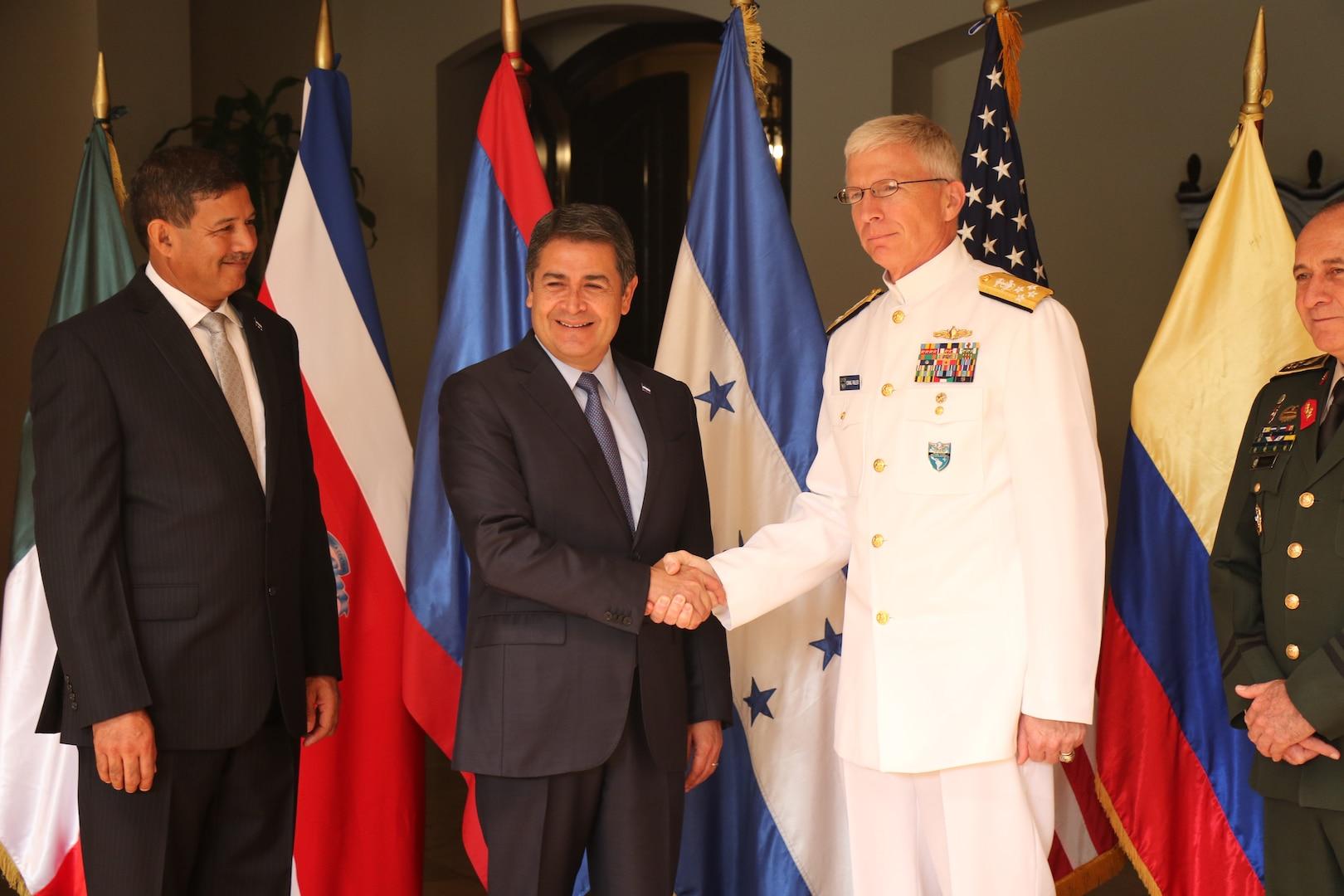 The commander of U.S. Southern Command, Navy Adm. Craig Faller, meets with Honduran President Juan Orlando Hernández.