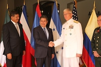 The commander of U.S. Southern Command, Navy Adm. Craig Faller, meets with Honduran President Juan Orlando Hernández.