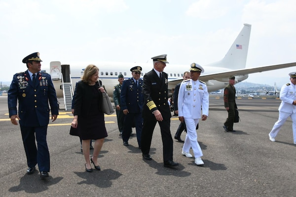 The commander of U.S. Southern Command, Navy Adm. Craig Faller, arrives in Honduras to take part in the Central American Security Conference.
