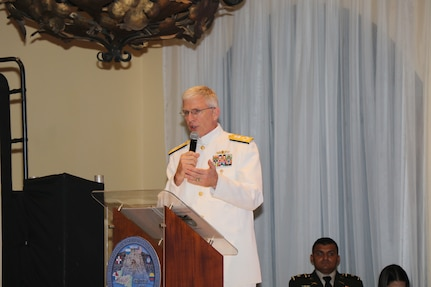 The commander of U.S. Southern Command, Navy Adm. Craig Faller, speaks during the opening of the Central American Security Conference.