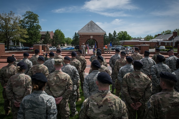 Col. Lance Turner, commander, 932nd Mission Support Group, speaks during the Assumption of Command ceremony, May 5, 2019, 375th Air Mobility Wing Parade Field, Scott Air Force Base, Illinois. Turner spoke about Lt. Col. James Blackburn, the departing Security Forces Squadron commander, and his leadership and dedication while serving at the Illinois Reserve Wing. (U.S. Air Force photo by Senior Airman Brooke Deiters)