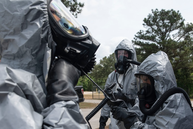 U.S. Air Force emergency management technicians assigned to the 20th Civil Engineer Squadron suit up during an exercise at Shaw Air Force Base, S.C., May 2, 2019.