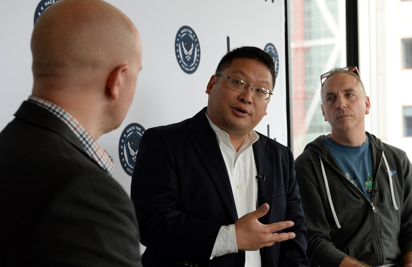 "(From left) Alex Rice, chief technology officer and co-founder of HackerOne, Peter Kim, Air Force chief information security officer, and Chris Lynch, director of Defense Digital Service, announce ""Hack the Air Force"" event at HackerOne headquarters, San Francisco, April 26, 2017 (U.S. Air Force/Dan DeCook)"