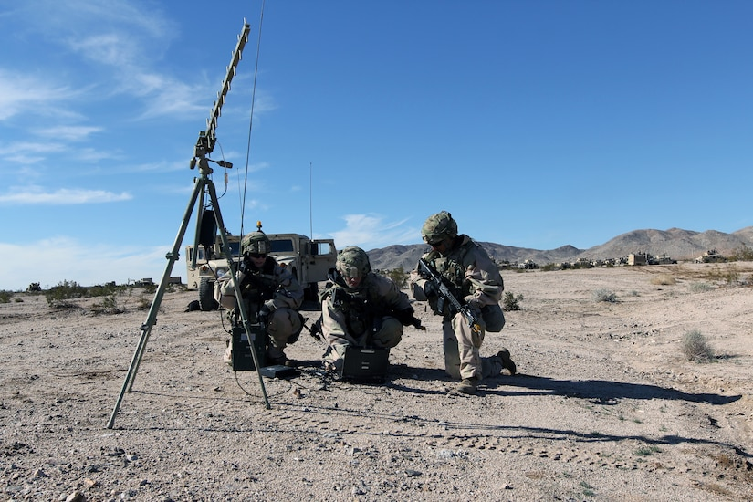 Cyberspace operations specialists with Expeditionary Cyber Support Detachment, 782nd Military Intelligence Battalion (Cyber), provide support to training rotation for 3rd Brigade Combat Team, 1st Cavalry Division, at National Training Center, Fort Irwin, California, January 13, 2019 (Steven Stover)