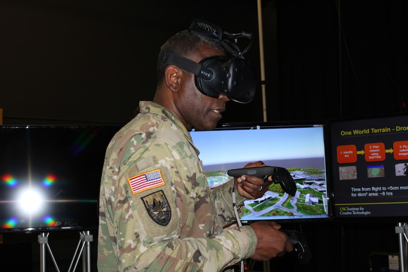 Commanding general of U.S. Army Research, Development, and Engineering Command tries hand at One World Terrain, March 2018 (U.S. Army)