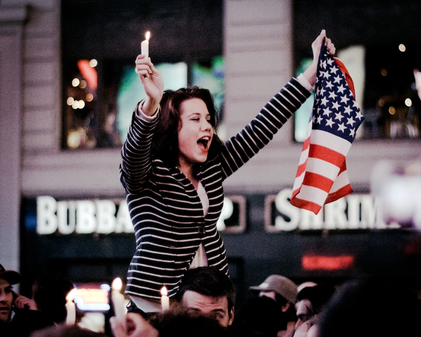 Celebrations in Times Square after death of Osama bin Laden, May 2, 2011 (Courtesy John Pesavento)
