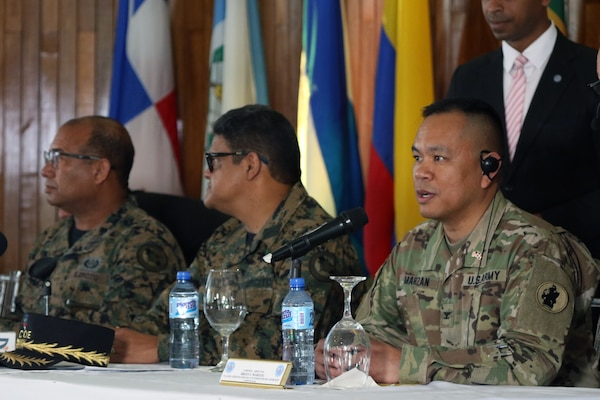 U.S. Army Col. Brian Marzan, Division Chief of U.S. Army South Training and Exercises and co-director of Fuerzas Aliadas Humanitarias 2019, answers media questions at the opening ceremony of FA-HUM 19.