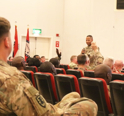 Staff Sgt. Damien Montgomery, 184th Sustainment Command, asks the audience a question about vehicle safety during nontactical vehicle training at Camp Arifjan, Kuwait, April 26, 2019. (U.S. Army National Guard photo by Sgt. Connie Jones) (Photo Credit: Sgt. Connie Jones)